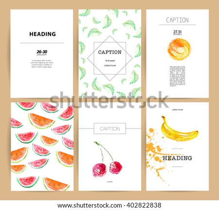 Hand drawn menu cover template. Fresh food watercolor illustration. Fruits, leaves isolated on white background.  Watermelon, cherry, banana, peach. Hand drawn menu cover template. Food watercolor.  - stock photo