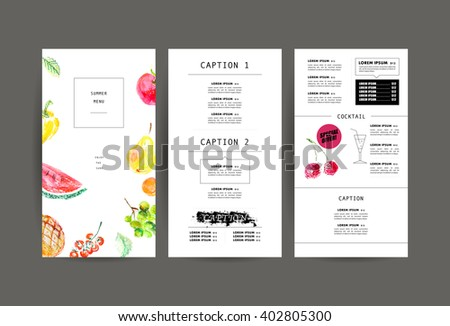 Hand drawn menu cover template. Watercolor fresh food illustration. Vegetables, fruits isolated on white background. Hand drawn menu cover template. Watercolor food illustration. Vegetables, fruits.  - stock photo