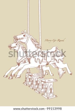 Hand Drawn Merry-Go-Round Horse - stock photo