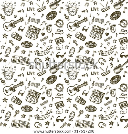 Hand drawn music seamless background pattern - stock photo
