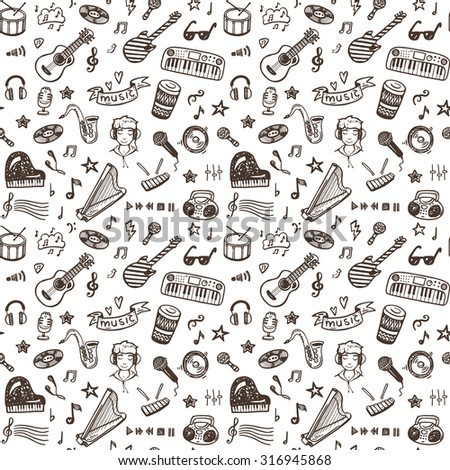 Hand drawn musical instruments collection seamless pattern. Music set. - stock photo
