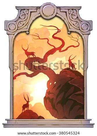 Hand drawn mystical landscape with waterfall and figures of some hoofed mammals framed with a stone decorated hand drawn arch - stock photo