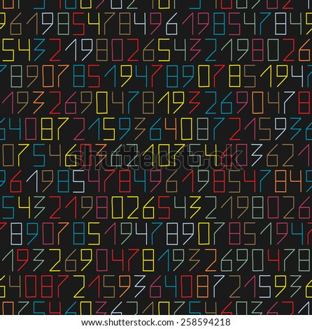 Hand drawn numbers seamless pattern in flat neon colors - stock photo