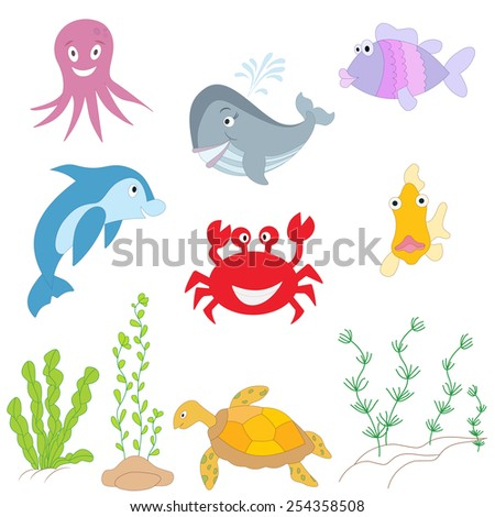 Hand drawn ocean background.  Sea creatures on white background. Tropical sea life design. - stock photo