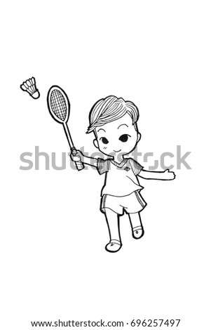 Cartoon badminton stock images royalty free images for Badminton coloring pages