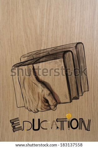 hand drawn of hands holding the books on wood background as creative concept  - stock photo