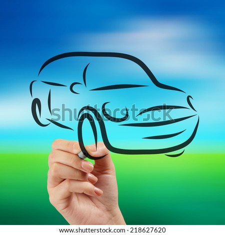 hand drawn of silhouette of car on nature background