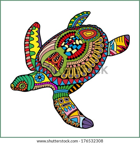 Hand drawn ornamental turtle, colorful decorative pattern, cartoon animal illustration, raster version