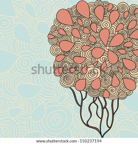 Hand Drawn Ornate Tree Doodle Vector Illustration. Raster copy of vector illustration - stock photo