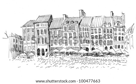 hand drawn outline of a historical center of a european city: old houses with tiled roofs