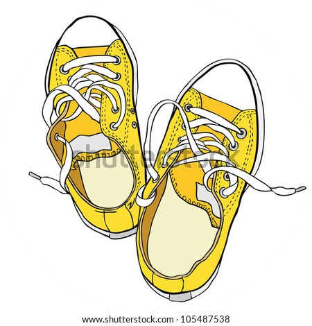 Hand drawn pair of yellow sneakers. Raster illustration. Vector version is in my portfolio. - stock photo
