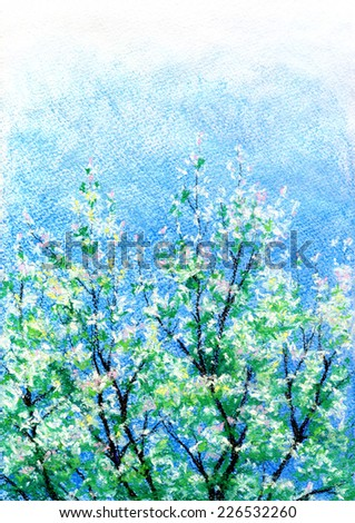 Hand drawn pastel pear tree in blossom. - stock photo