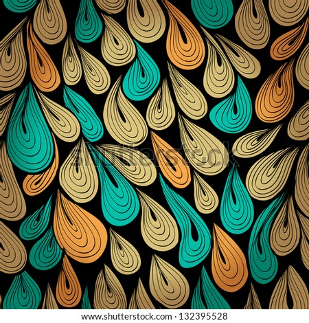 Hand drawn pattern with water drops. Raster version of the vector image - stock photo
