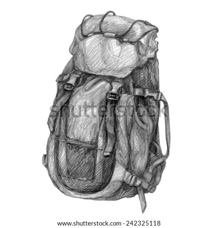 Hand drawn pencil picture of backpack. Tourist equipment