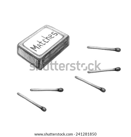 Hand drawn pencil picture of matchbox and matches. Tourist and kitchen equipment - stock photo