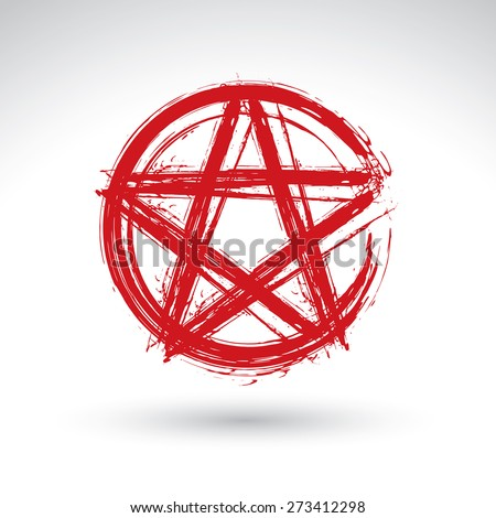 Hand drawn pentagram icon scanned and vectorized, brush drawing red magic polygonal star, hand-painted pentagram symbol isolated on white background. - stock photo