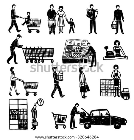 Hand drawn people doing shopping in supermarket black decorative icons set isolated  illustration - stock photo
