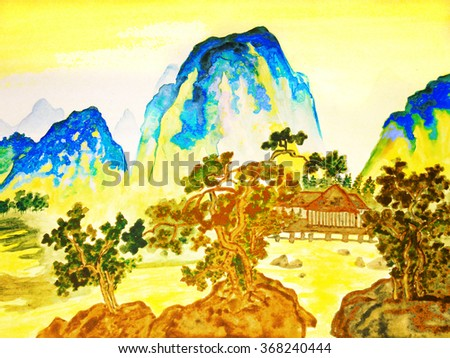 Hand drawn picture, in traditions of Chinese painting, watercolour. Landscape - mountains, trees and houses.  - stock photo