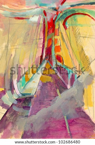 "Hand-drawn picture. Mixed media - pencil and acrylic paint. Abstract painting - on ""Bridges"" theme. - stock photo"