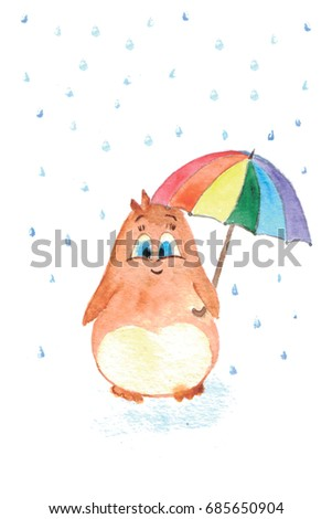 Hand drawn picture of cute penguin with colorful umbrella under the rain