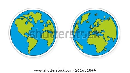 Hand drawn planet earth illustration - stock photo