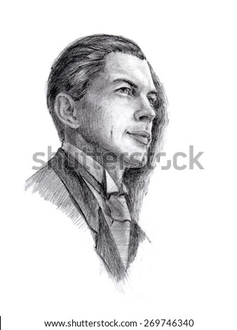 Hand drawn portrait of a gentleman, retro style. Pencil on white background. Original art. Fictional character. - stock photo