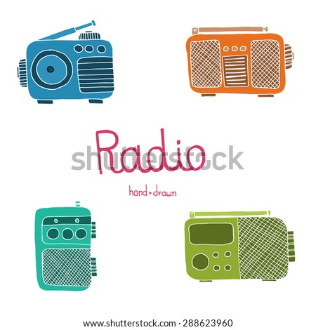 Hand drawn radio set on the white background. Raster image. - stock photo