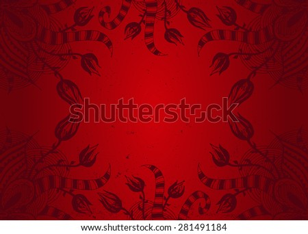 Hand drawn red floral background with place for text. Ornamental pattern for wedding invitations, greeting cards, textile, bag design, etc. Zentangle hand drawn elements. Raster copy. - stock photo