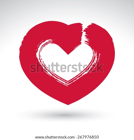 Hand drawn red love heart icon, loving heart sign, created with real hand drawn ink brush scanned, hand-painted love symbol isolated on white background. - stock photo