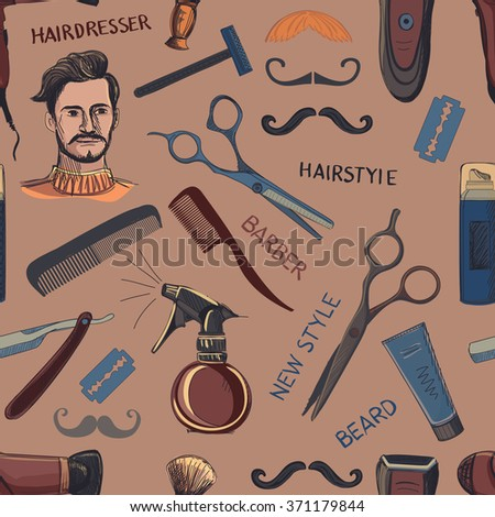 Hand drawn retro barbershop seamless pattern. Scissors, razor, shaving brush, barber pole, shaving mirror, mustache, comp. Blue background - stock photo