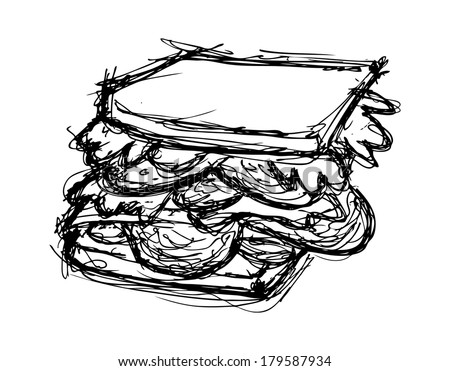 hand drawn sandwich isolated on white background - stock photo