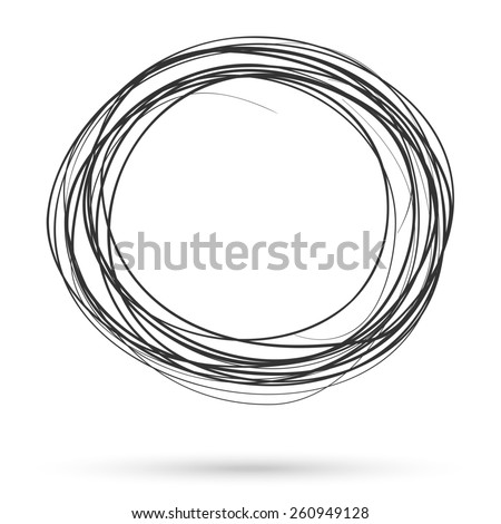 Hand drawn scribble circles template. Monochrome creative illustration. - stock photo
