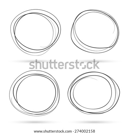 Hand drawn scribble circles template set. Monochrome creative illustration.  - stock photo