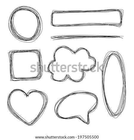 Hand drawn scribble pencil shapes - stock photo