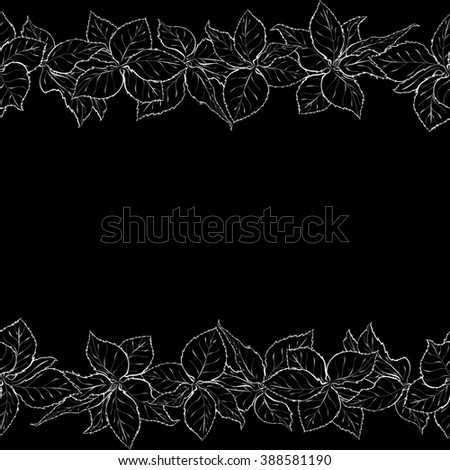 Hand drawn seamless border with foliage of rose. Monochrome leaf. Sketch of leaves.  Black and white pencil or ink outline. Rasterized version - stock photo