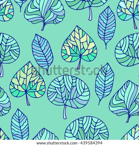 Hand Drawn seamless floral pattern.Stylized Decorative trees in green.Illustration for design of gift packs,wrap,patterns fabric,wallpaper,web sites.Nature backdrop,repeated background - stock photo