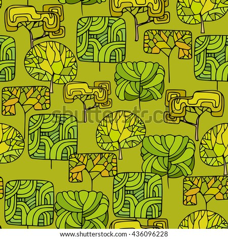 Hand Drawn seamless floral patterns.Stylized Decorative leaves and trees.Illustration for design of gift packs,wrap,patterns fabric,wallpaper,web sites.Nature backdrop,repeated background - stock photo