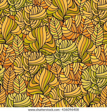 Hand Drawn seamless floral patterns.Stylized Decorative trees  in yellow.Illustration for design of gift packs,wrap,patterns fabric,wallpaper,web sites.Nature backdrop,repeated background - stock photo