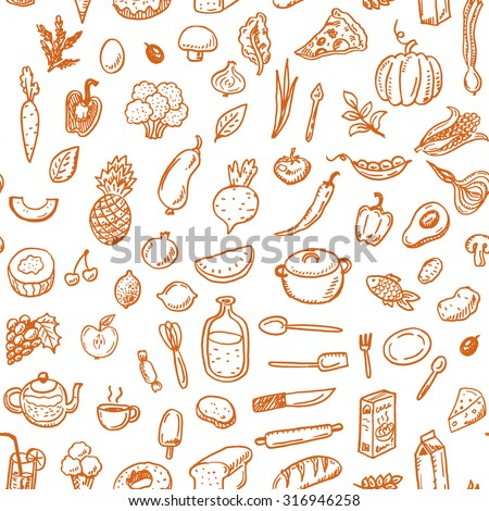 Hand drawn seamless food pattern. - stock photo