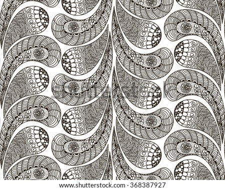 Hand drawn seamless pattern in doodle art style Black and white decoration for cards,wedding invitations, congratulations, branding, label, poster, banner, template . illustration