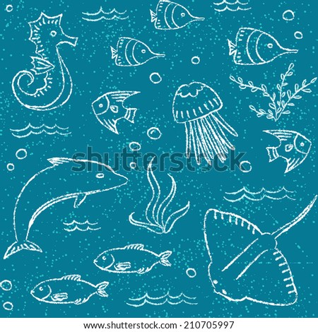 Hand drawn seamless pattern with doodle sea animals