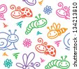 hand drawn seamless pattern with insects and snails - stock vector