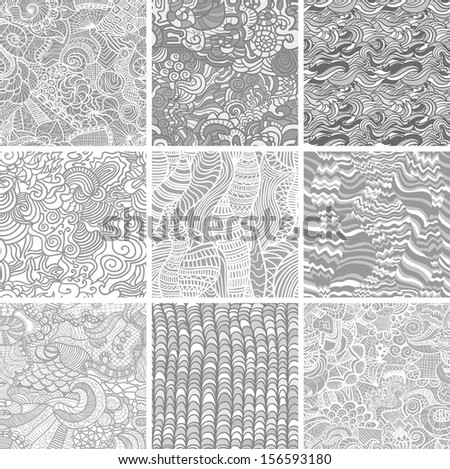 Hand-drawn seamless patterns may be used as background.