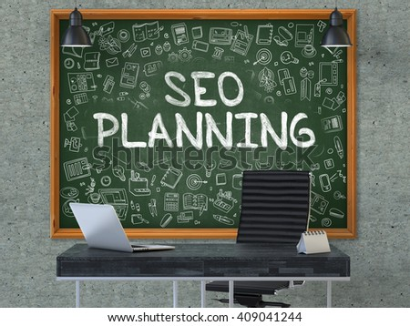 Hand Drawn SEO - Search Engine Optimization - Planning on Green Chalkboard. Modern Office Interior. Gray Concrete Wall Background. Business Concept with Doodle Style Elements. 3D. - stock photo