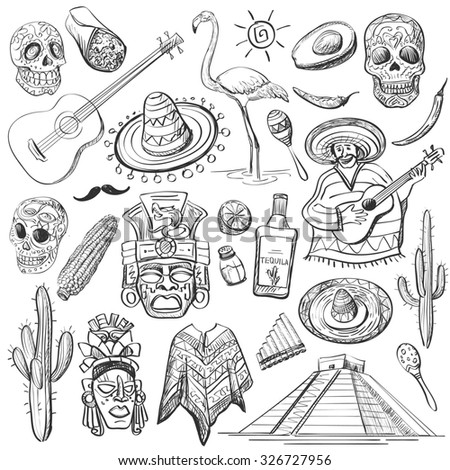 Hand Drawn Set Mexican Symbols Guitar Stock Illustration 326727956
