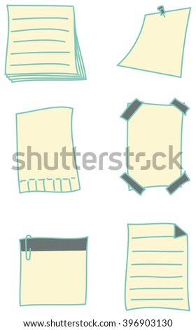 Hand-drawn set of paper notes and stickies in different variations - stock photo