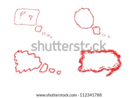 Hand drawn set of Speech bubbles - stock photo