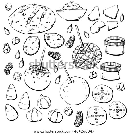 hand drawn set of watercolor halloween food on white background