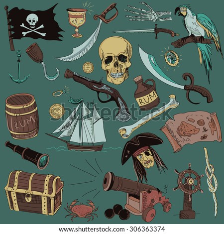Hand drawn set with pirate elements and objects on color background.