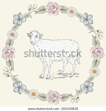 Hand drawn sheep standing in the field and floral frame with roses and ox-eye daisies. Ornate colorful illustration. Vintage engraving style. Raster version - stock photo